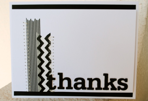 runway inspired challenge, gareth pugh 2012, handmade card, chevron, stripes, less is more challenge blog, one word, hello card, black and white card