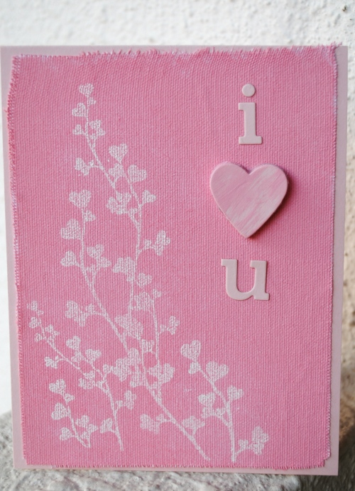 i love you card, handmade card, valentines card, embossed card, canvas, chipboard, papertrey ink, penny black