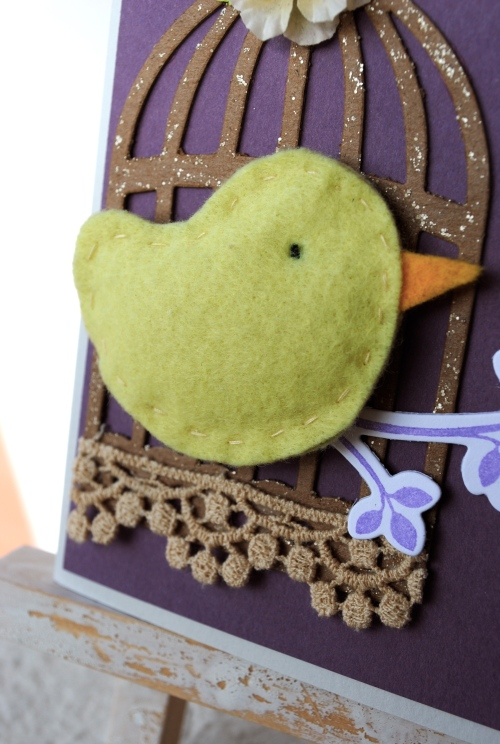 handmade bird card, lily pad cards, wee memories, just us girls, card challenge, chipboard, felt bird, wplus9 stamps