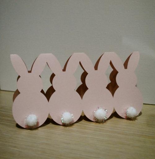 handmade cut, handmade bunny card, silhouette cameo card, bunny, easter card, bunny card, pompom with tinsel