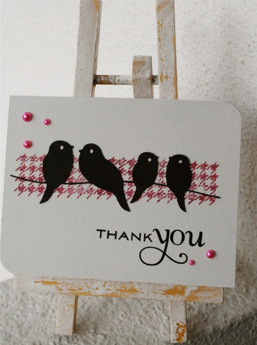 handmade bird card, birds on a wire card, houndstooth card, papertrey ink thank you stamp, make my monday challenge, young crafters unite challenge, autumn rose ink, silhouette cameo die cut