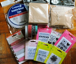 studio g stamps, maya road mini album, doodle twine, valentines day stamps, st patricks day stamps, american crafts ribbon