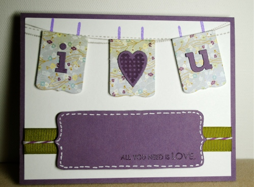 handmade card, handmade card singapore, i love you card, valentines card, monochrome card, monochromatic card, purple card, wplus9 stamps, papertrey ink
