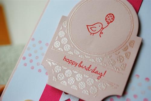 handmade card, handmade card singpore, bird card, tiny treats, papertrey ink, polka dots