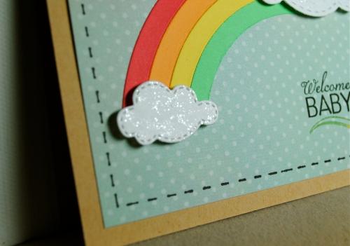 handmade card, handmade card singapore, rainbow card, baby card, unisex baby card, clouds, rainbow, lil' inker designs, papertrey ink