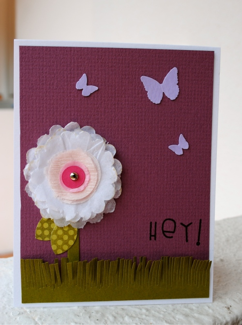 handmade card, punched flowers, tissue paper flowers, butterfly punch, scissor fringed grass, moxie fab world punches challenge