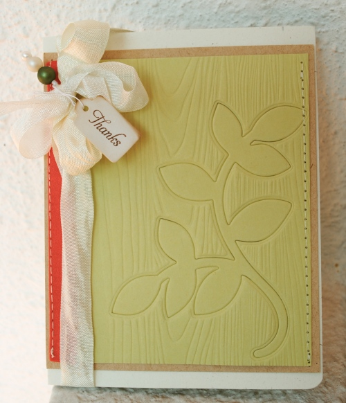 handmade card singapore, handmade card, handmade greeting card, thank you card, soft coloured card, seam binding ribbon bows, trinket pins, woodgrain impression plate