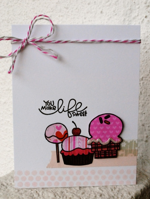 handmade card, handmade card singapore, handmade love card, valentines card, greeting card, homemade, candy, ice cream, lollipop, papersmooches stamp, sugar rush, doodlebug twine, challenges
