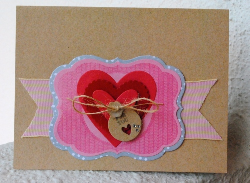 handmade valentines day card, love card, i love you card, pink, gray, grey, embossed, tiny tags, pti, kraft, button, jute string, mat stack 4, papertrey ink, my favorite things heart dies