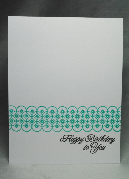 handmade card, handmade birthday card, papertrey ink, Zing! embossing ink in aqua, pti background basics diamonds, pti damask design happy birthday sentiment, teal, aqua, embossing