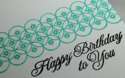 handmade card, handmade birthday card, papertrey ink, Zing! embossing ink in aqua, pti background basics diamonds, pti damask design happy birthday sentiment, teal, aqua, embossing