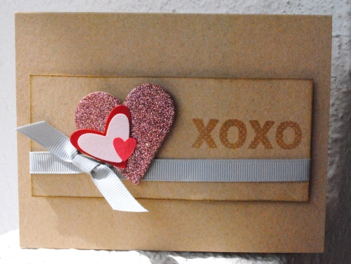 handmade valentines day card, love card, i love you card, pink, gray, grey, embossed, melissa frances glitter heart pink, gray ribbon, papertrey ink
