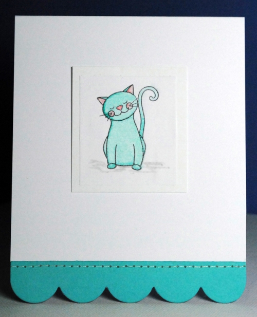 singapore copic markers, singapore handmade card, cat handmade card, blue cat card