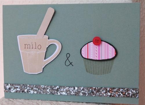 handmade valentines card singapore, muffin, cupcake, milo, glitter ribbon
