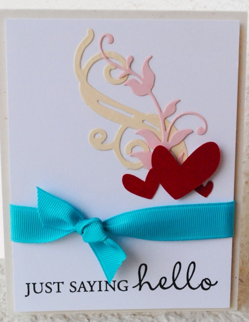 hello handmade card, all occasion handmade card, just saying hello, pink, cream, turquoise, grosgrain ribbon, silhouette cameo, my favorite things leafy flourish, papertrey ink fancy flourishes.