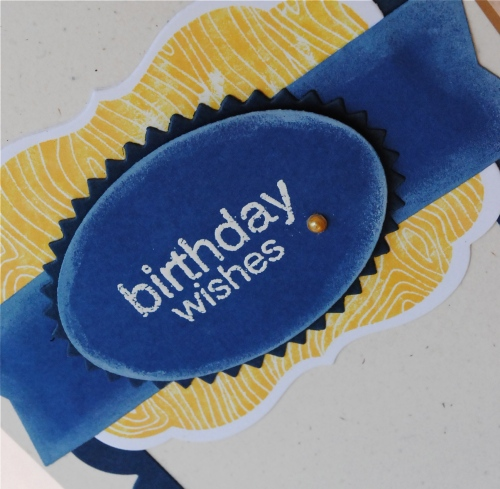 handmade card, handmade card for guys, handmade card for boys, happy birthday handmade card, blue, yellow, navy, scallops, papertrey ink