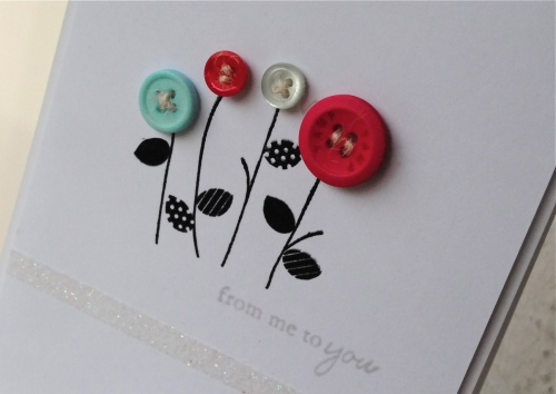 handmade card with buttons, everyday button bits, papertrey ink, glitter, handmade card singapore