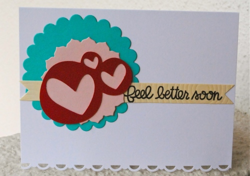 handmade get well card, feel better handmade card, pink, red, turquoise, cream, white, papertrey ink limitless layers, silhouette cameo, papertrey ink double ended banners, stampin up lace die