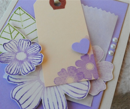 handmade floral cards, handmade cards singapore, hand cut flowers, memento markers stamping and coloring, handmade interactive cards, pink, purple, blue